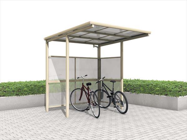 三協アルミ  ベルフラット パネル2段  L型(パネル2面) 中央柱タイプ 熱線遮断ポリカーボネート板 間口22  KLBS-M2221L-WT  『サイクルポート 自転車置場 屋根』