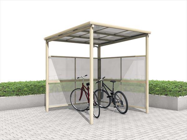 三協アルミ  ベルフラット パネル2段  L型(パネル2面) 端部柱タイプ 熱線遮断ポリカーボネート板 間口22  KLBS-E2221L-WT  『サイクルポート 自転車置場 屋根』