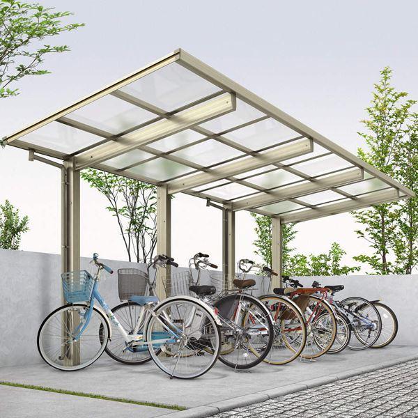 サイクルポート YKKAP エフルージュグラン ミニ J22・22-21 ポリカ屋根 たて連棟セット 『サビに強いアルミ製 家庭用 おしゃれ 自転車置き場 屋根』 帯・木目カラー