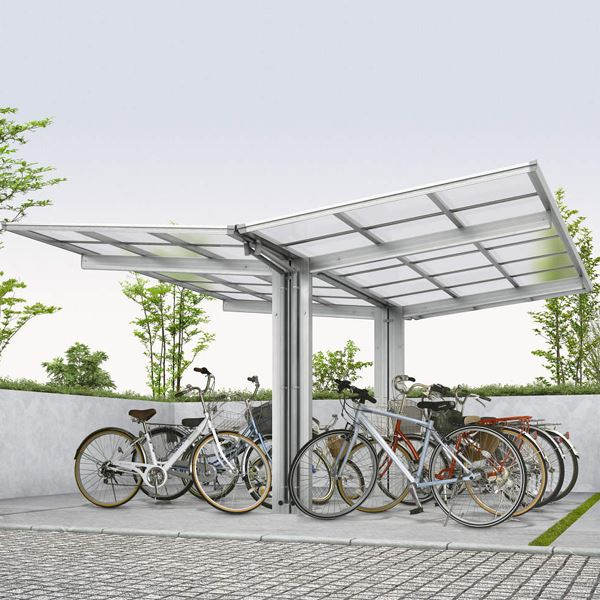 サイクルポート YKKAP エフルージュグラン ミニ Y22-21・21 熱線遮断ポリカ屋根 Y合掌セット 『サビに強いアルミ製 家庭用 おしゃれ 自転車置き場 屋根』 アルミカラー