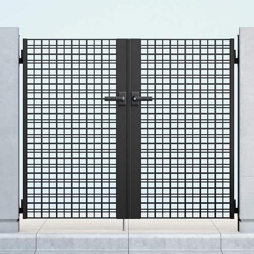 YKKAP シャローネ門扉 SC04型 07-12 門柱・両開きセット