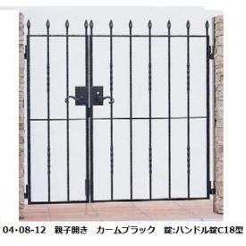 YKKAP シャローネシリーズ トラディシオン門扉7型 04・07-12 門柱・親子開きセット