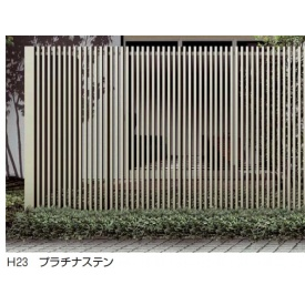 YKKAP リレーリアフェンス2N型(たて格子) メーターモジュール (本体+柱)セット L字連結用 H18FL TPS-F32N 『アルミフェンス 柵』 木目カラー