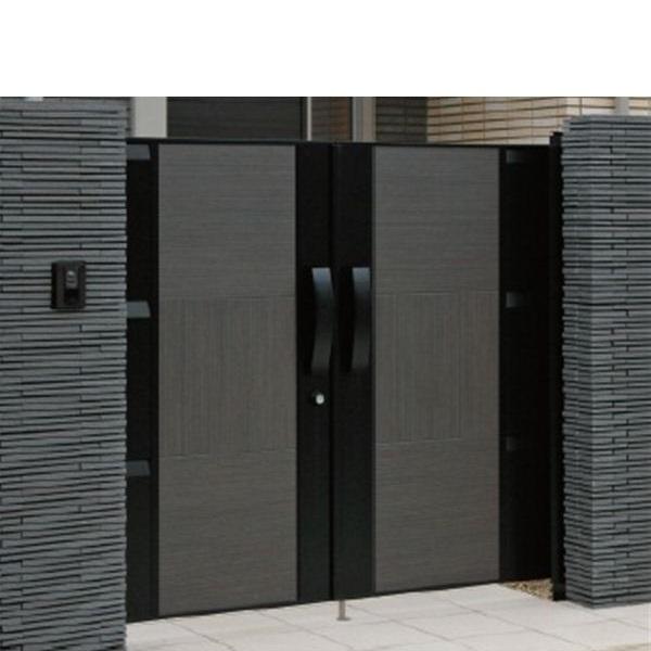上品なスタイル 三協アルミ Jモダン3型門扉 0916 両開き 門柱タイプ MJ-3 カフェボローニア+ブラック:エクステリアのキロ支店-エクステリア・ガーデンファニチャー