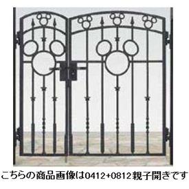 リクシル 新日軽 ディズニー門扉 角門柱式 ミッキーA型 0412+0812 親子開き ブラック