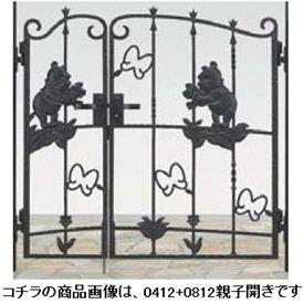 リクシル 新日軽 ディズニー門扉 角門柱式 プーさんA型 0410+0810 親子開き ブラック