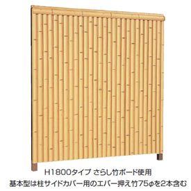 タカショー エバー 10型セット(エバー丸竹) 60角柱(片面) 基本型(両柱) 高さ1800タイプ 『竹垣フェンス 柵』 枯竹/洗い青竹/さらし竹