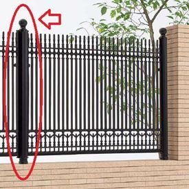 四国化成 ロードスフェンス丸飾り支柱仕様 04:丸飾り主柱 04KMP-08BK 『アルミフェンス 柵』 ブラックつや消し
