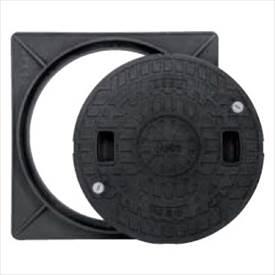 城東テクノ 耐圧マンホールカバー 枠セット(T-2) 450型/ロック付/角枠セット JT2-450A-1 2セット入 『外構DIY部品』 ブラック(JC)