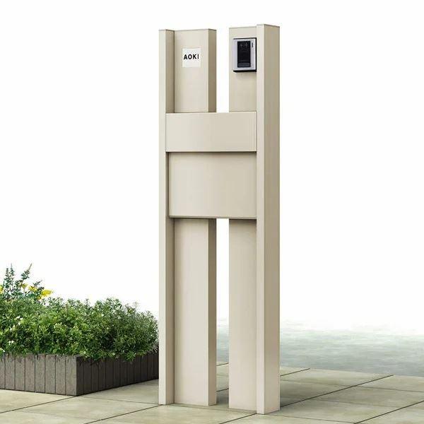 YKKAP ルシアスポストユニットBS03型 照明なしタイプ 本体(R) UMB-BS03 エクステリアポストT11型 アルミカラー *表札はネームシールです 門柱 機能門柱 ポスト おしゃれ