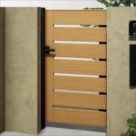 YKKAP ルシアス門扉BW02型 横スリット(木調框) 10-12 片開き UME-BW02 複合カラ―