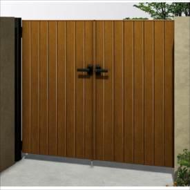 YKKAP ルシアス門扉BW03型 たて板張り(鋲なし) 06-12 両開き UME-BW03 木調カラー