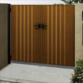 YKKAP ルシアス門扉BM01型 リブモール(鋲なし) 06-12 両開き UME-BM01 木調カラー
