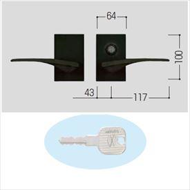 YKKAP 錠金具 ラッチ錠2型 両開き用 鍵付き MPC-JR2-W