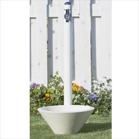 トーシン 水栓柱 コルム SC-CM11-WH 立水栓+水栓パン(受け)+蛇口セット ホワイト
