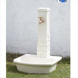トーシン 水栓柱 エーゲ SC-AG-IV 立水栓+水栓パン(受け)+蛇口セット アイボリー