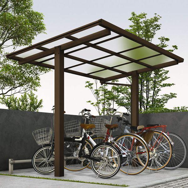サイクルポート YKKAP エフルージュグラン ミニ ZERO 22-20 基本セット 標準高さ 熱線遮断ポリカ屋根 『サビに強いアルミ製 家庭用 おしゃれ 自転車置き場 屋根』 アルミ形材色