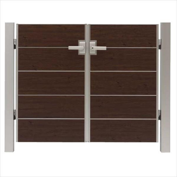 タカショー エバーアートウッド門扉 シンプルスタイル 柱仕様 W700×H1200 両開き レバーハンドル錠