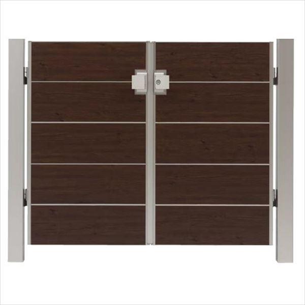 タカショー エバーアートウッド門扉 シンプルスタイル 柱仕様 W600×H1000 両開き プッシュプル錠