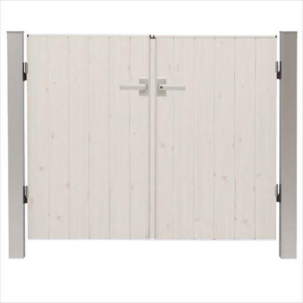 タカショー エバーアートウッド門扉 ナチュラルスタイル 柱仕様 W700×H1200 両開き レバーハンドル錠