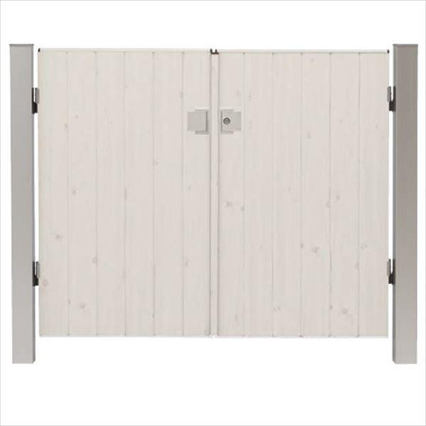 タカショー エバーアートウッド門扉 ナチュラルスタイル 柱仕様 W600×H1200 両開き プッシュプル錠