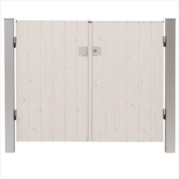 タカショー エバーアートウッド門扉 ナチュラルスタイル 柱仕様 W800×H1400 両開き プッシュプル錠