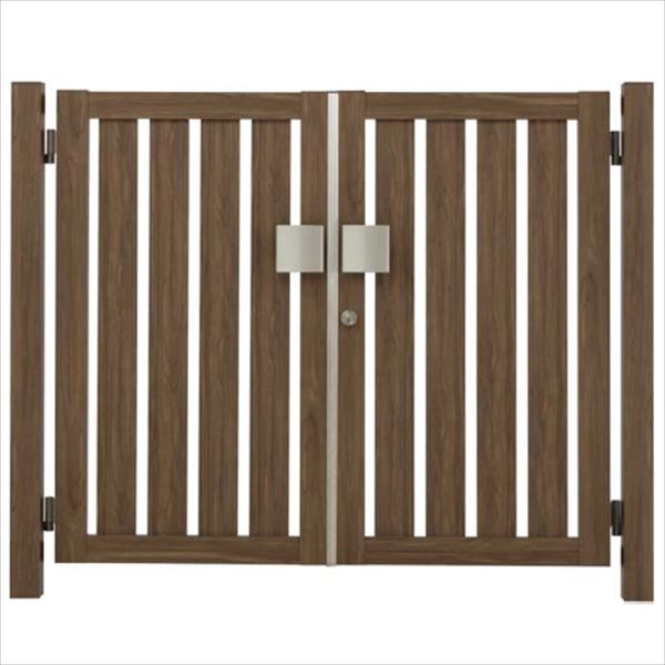 タカショー エバーアートウッド門扉 こだわり板 縦型 柱仕様 W700×H1200 両開き プッシュプル錠