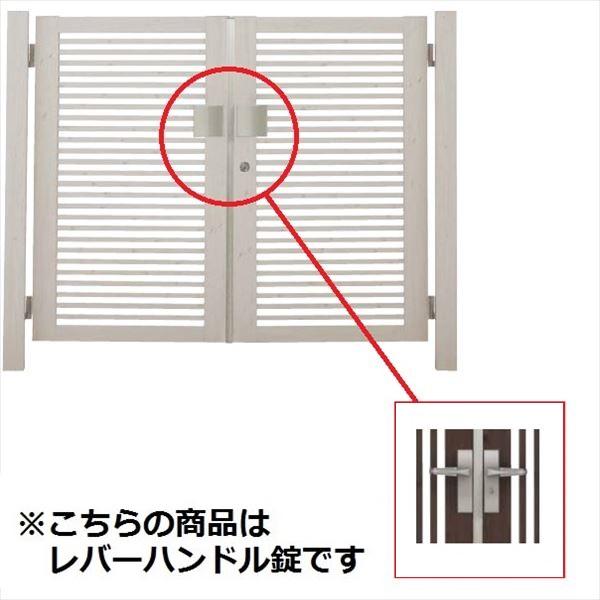 タカショー エバーアートウッド門扉 20角 細格子 横型 柱仕様 W800×H1400 両開き レバーハンドル錠