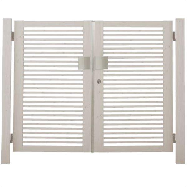タカショー エバーアートウッド門扉 20角 細格子 横型 柱仕様 W800×H1400 両開き プッシュプル錠