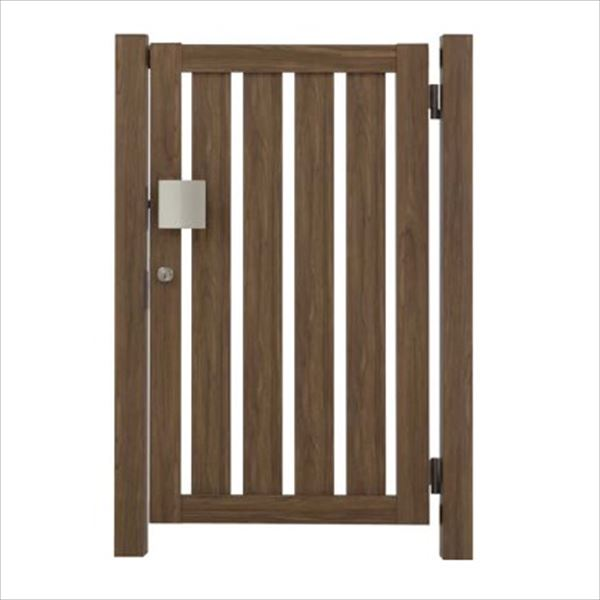 タカショー エバーアートウッド門扉 こだわり板 縦型 柱仕様 W700×H1000 片開き プッシュプル錠 右吊元