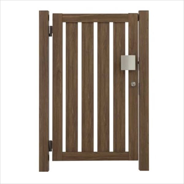 タカショー エバーアートウッド門扉 こだわり板 縦型 柱仕様 W700×H1200 片開き プッシュプル錠 左吊元