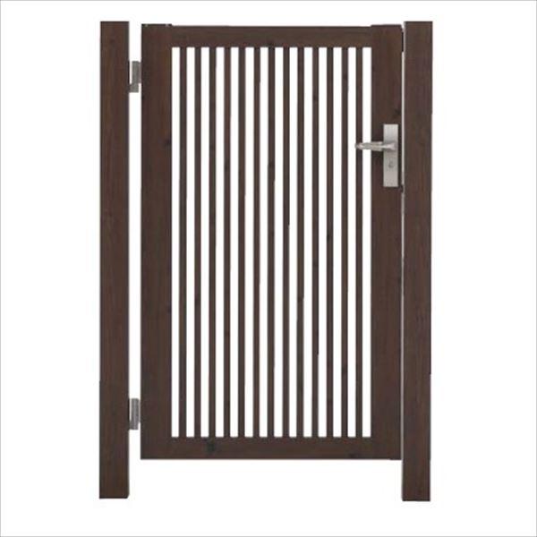 タカショー エバーアートウッド門扉 20角 細格子 縦型 柱仕様 W700×H1200 片開き レバーハンドル錠 左吊元