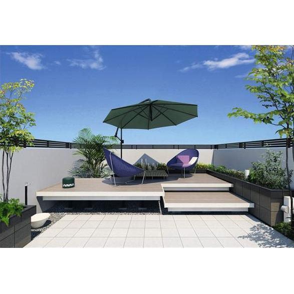 三協アルミ 屋外フローリング ラステラ 4.0間×6尺 床張り出し納まり ダブルフレームタイプ 束柱・固定/ロングタイプ NRD2-2460L 『ウッドデッキ 人工木 樹脂デッキの進化形』