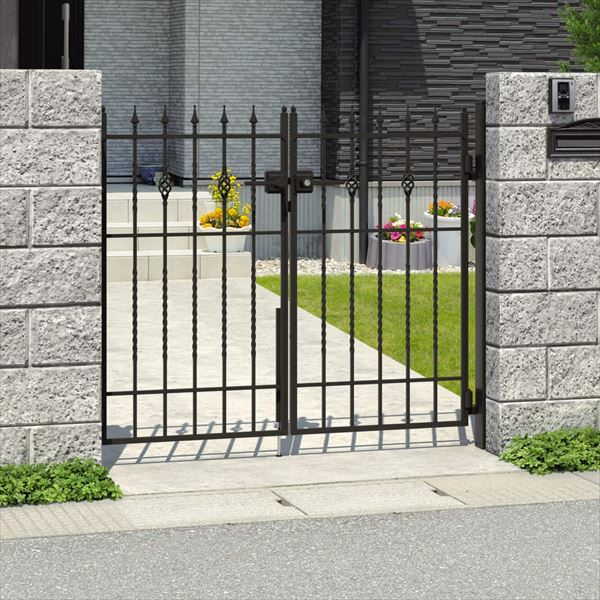 三協アルミ キャスタイル1型 アルミ鋳物門扉 0914 両開きセット 門柱タイプ 門柱タイプ