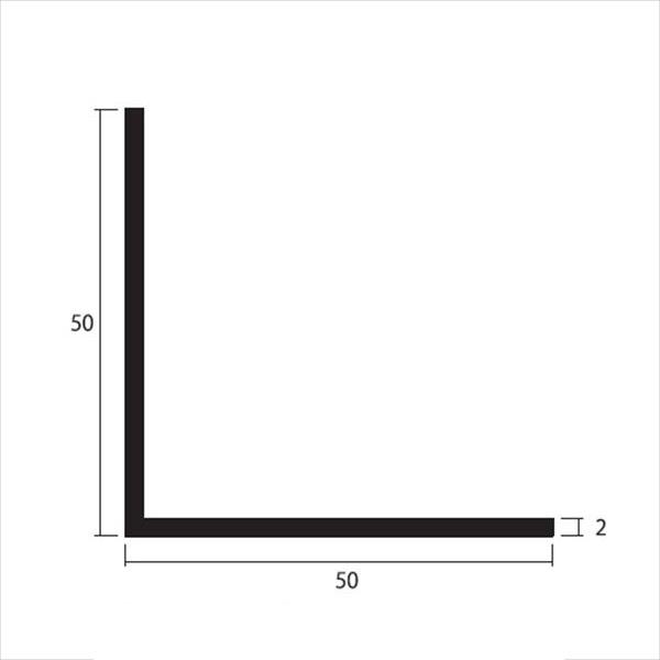 安田株式会社 一般形材 アルミ等辺アングル 定尺 L=4,000 2×50×50(mm) 『外構DIY部品』 シルバー
