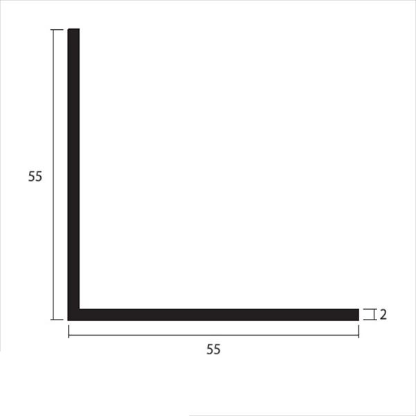 安田株式会社 一般形材 アルミ等辺アングル 定尺 L=4,000 2×55×55(mm) 『外構DIY部品』 シルバー