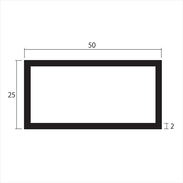 安田株式会社 一般形材 アルミ不等辺角パイプ 定尺 L=4,000 2.0×50×25(mm) 『外構DIY部品』