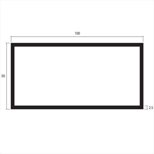 安田株式会社 一般形材 アルミ不等辺角パイプ 定尺 L=4,000 2.5×100×50(mm) 『外構DIY部品』 シルバー