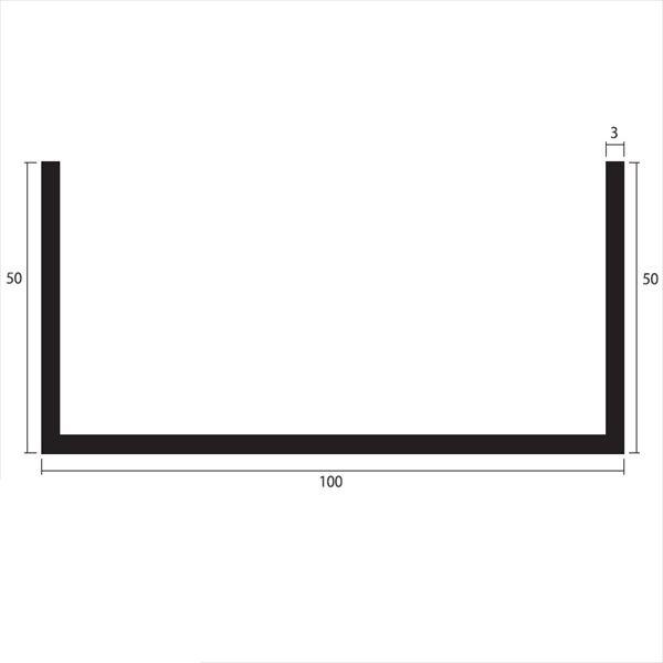 安田株式会社 一般形材 アルミチャンネル 定尺 L=4,000 3.0×100×50(mm) 『外構DIY部品』