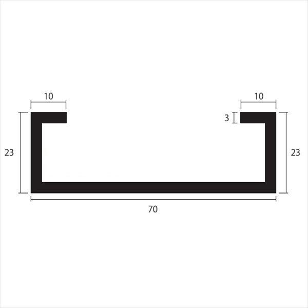 安田株式会社 一般形材 アルミC型チャンネル 定尺 L=4,000 3.0×70×23×10(mm) 『外構DIY部品』 シルバー