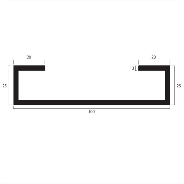 安田株式会社 一般形材 アルミC型チャンネル 定尺 L=4,000 3.0×100×25×20(mm) 『外構DIY部品』 シルバー