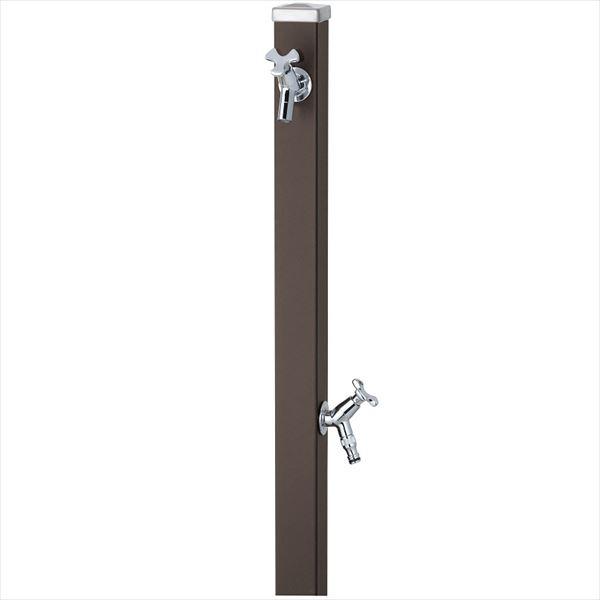 ユニソン スプレスタンド60 左右仕様 蛇口(シルバー)2個セット 『立水栓セット 蛇口+補助蛇口付き』  マットブラウン