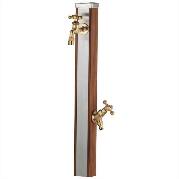 ユニソン スプレスタンド70 蛇口(ゴールド)2個セット 『水栓柱・立水栓セット(蛇口付き)』 ウッドブラウン