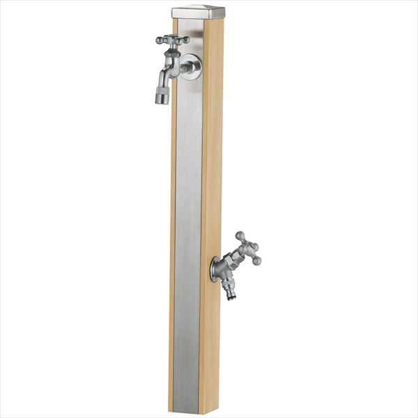 ユニソン スプレスタンド70 蛇口(シルバー)2個セット 『水栓柱・立水栓セット(蛇口付き)』 ウッドベージュ