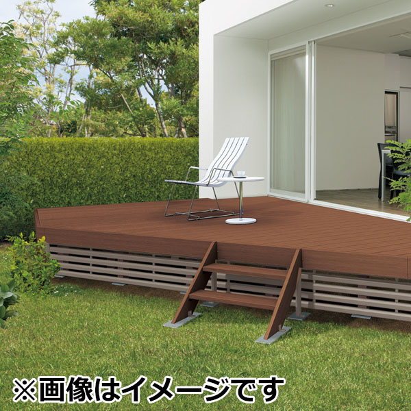 キロスタイルデッキ 木質樹脂タイプ 2間×10尺(3030) 幕板A 高延高束柱 コーナーキャップ仕様 『ウッドデッキ 人工木』
