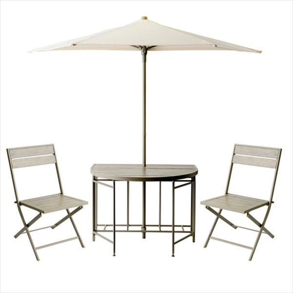杉田エース パティオ・プティ ムーン テーブル×1、チェア×2、パラソル×1セット MOON 『ガーデンテーブルセット ガーデンファニチャー』