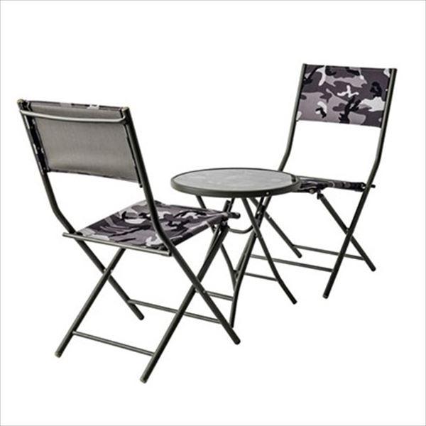 杉田エース パティオ・プティ ブラックアーミー テーブル×1、チェア×2セット BLACK ARMY 『ガーデンテーブルセット ガーデンファニチャー』