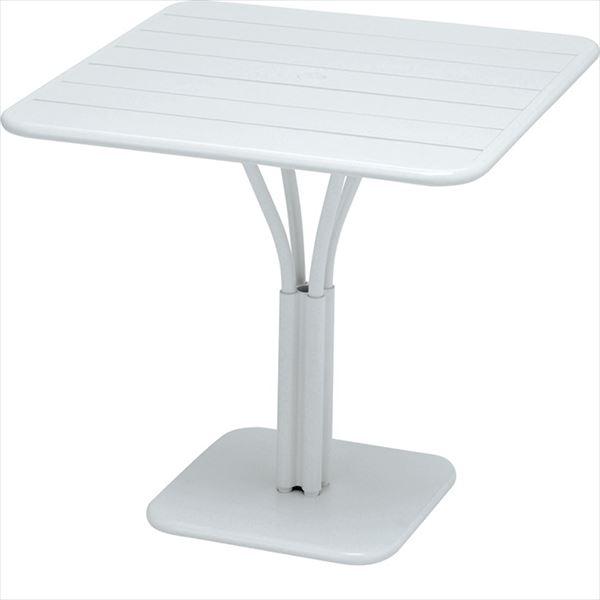 ニチエス FERMOB フェルモブ ルクセンブールテーブル 80×80 *パラソル穴付き 01ホワイト
