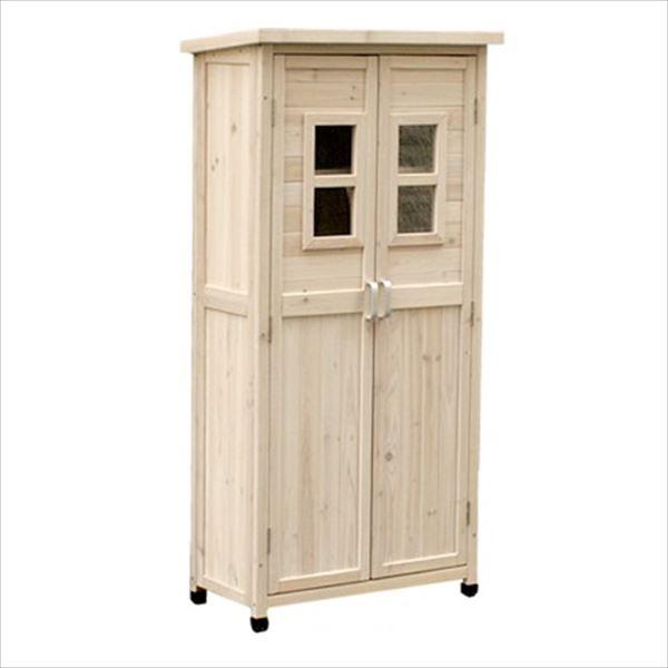 Sスタイル 木製収納庫 SPG-001LWHT ベランダ薄型収納庫1600   『小型 物置小屋 屋外 DIY向け』 ホワイト