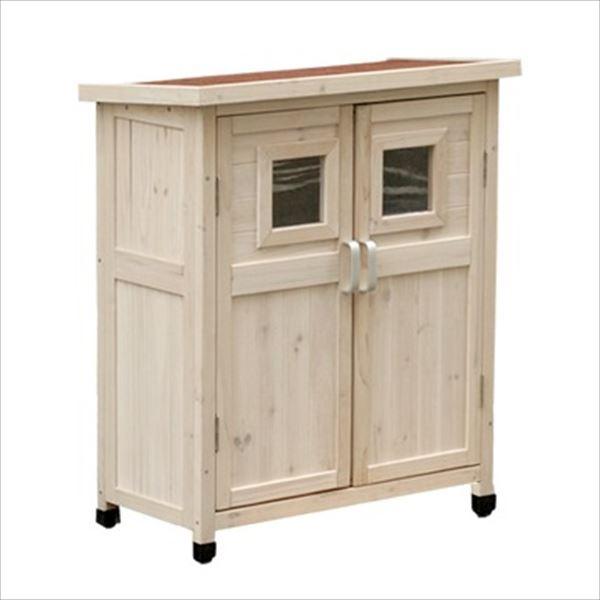 『欠品中 次回入荷未定』Sスタイル 木製収納庫 SPG-002LWHT ベランダ薄型収納庫920   『小型 物置小屋 屋外 DIY向け』 ホワイト